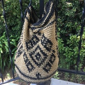 Lucky Brand Raffia Woven Hobo Bag